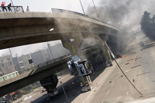Egyptian MRAP going off a bridge